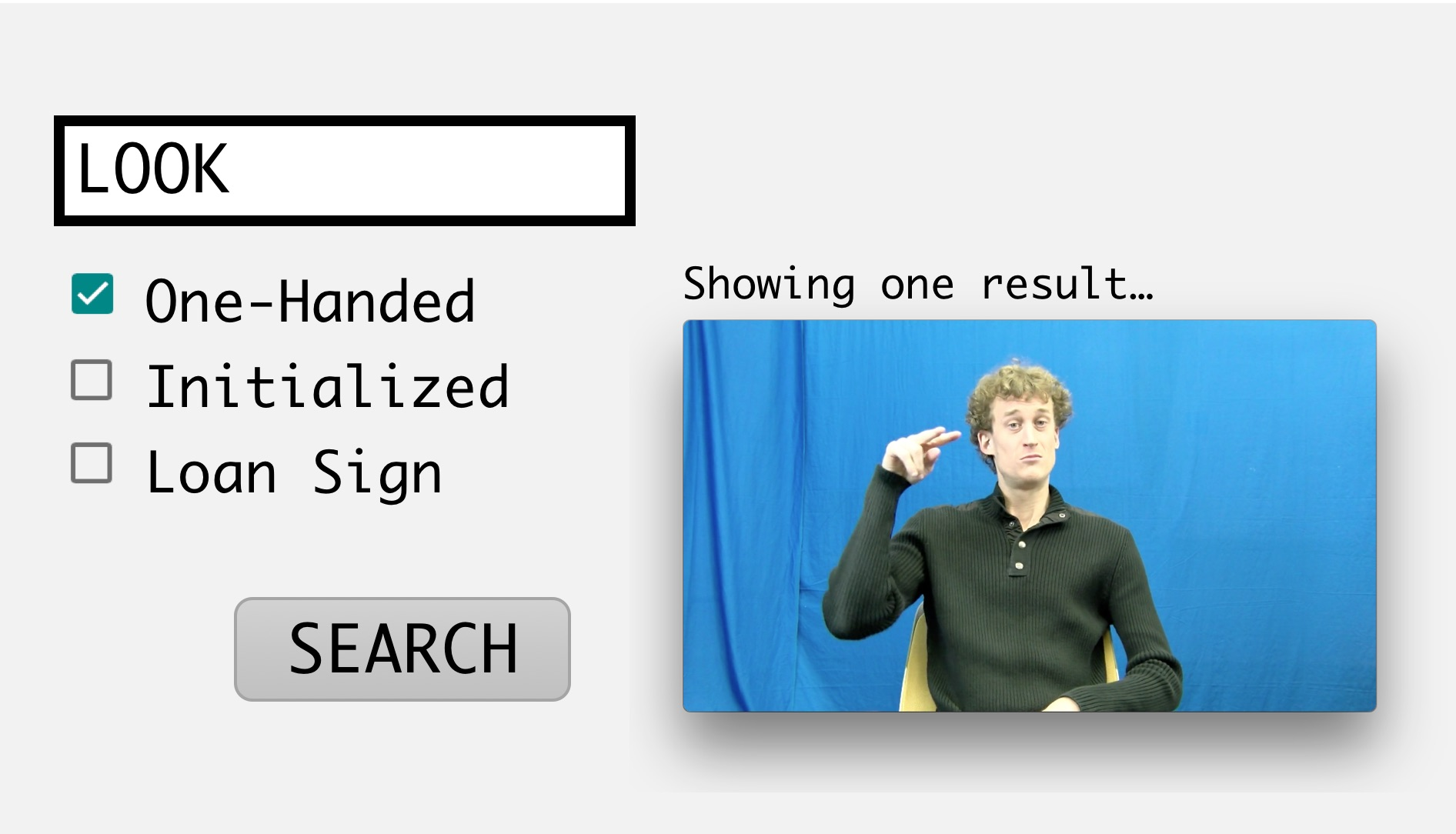 Screenshot of a prototype for a web-based sign language dictionary search.