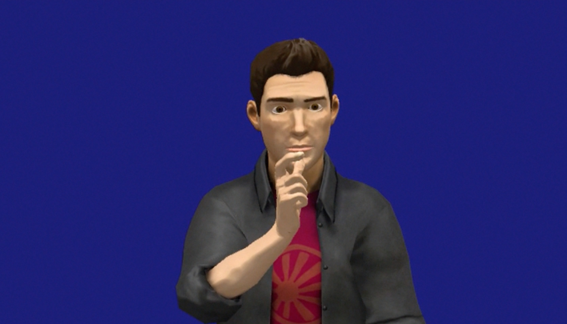 Screenshot of an animation of a virtual human signer.