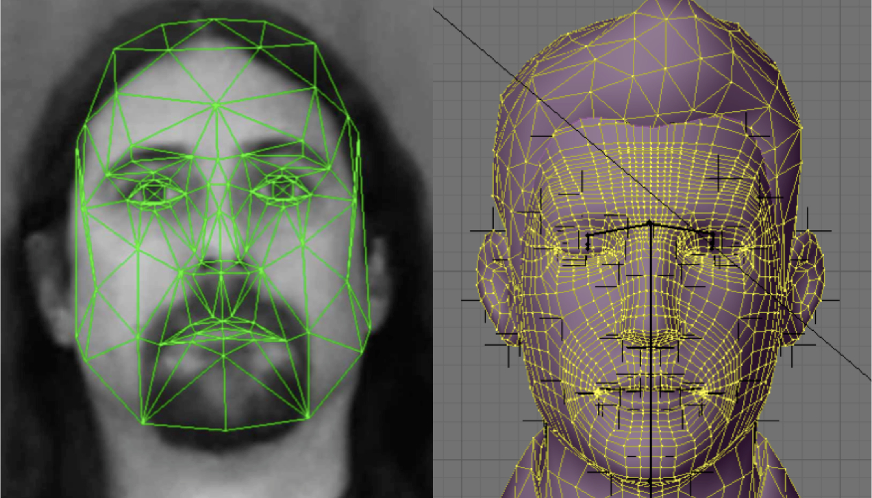 An image of a human face with gridwork overlaid, and an image of a virtual human face, showing a grid-like mesh of its structure.