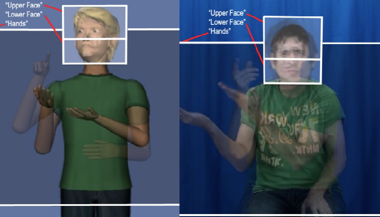 Screenshot of a video of a human signer and an animation of a virtual human.