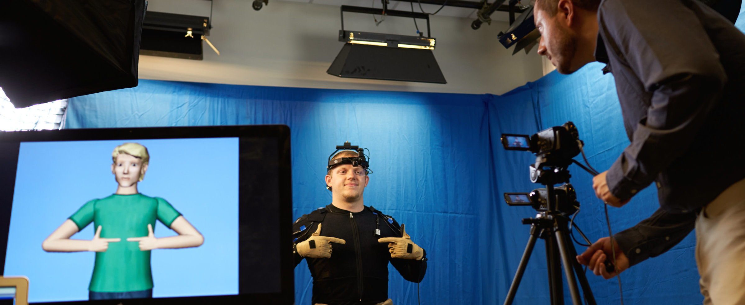 Motion-capture equipment recording in the laboratory.