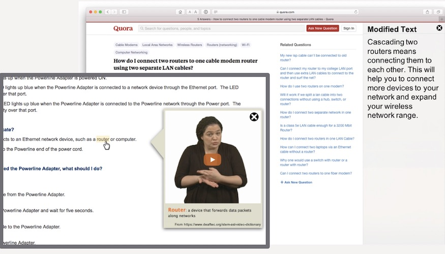 Screenshots of a web browser with plug-ins that simplify the text or show ASL video.